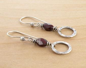 Red Garnet Earrings, Sterling Silver, January Birthstone, Dangle Earrings, Rustic Gemstone Earrings, Circles, Dangle Earrings #4559