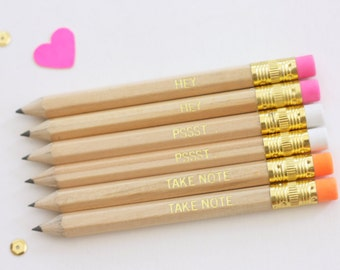 Gold Foil Mini Pencils - Set of 6 pencils - Party Favors - Birthday Gifts - PSSST - HEY - Take Note - gold foil - pink - orange