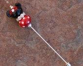 BLACK FRIDAY SALES Event Minnie Mouse Style Stick Pin Disney Inspired DeSIGNeR Sra Lampwork Disneyland Magic Perfect Scarf Blazer Accessory