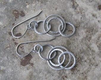 fine silver earrings, handmade metalwork earrings, rustic silver dangle earrings