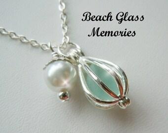 Sea Glass Necklace Glass Locket  Sea Jewelry Beach Glass Pendant  Sea Jewelry Aquamarine Seaglass Necklace