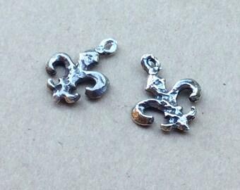Tiny Fleur de Lis Charms Sterling Silver TWO 002/CH930