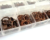 Antique Copper Jump Ring Assortment Plated Iron Not Soldered NF Boxed 4mm to 10mm - F4003JR-ASAC