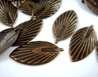 10 Leaf Charm Antique Bronze Drop Plated Brass 18x9mm - 10 pc - 6359-13