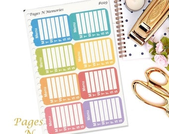 Weekly Menu Planner Sticker/ Menu Sidebar Sticker/ Functional Sticker/ Erin Condren/ Plum Paper/ Happy Planner  #036