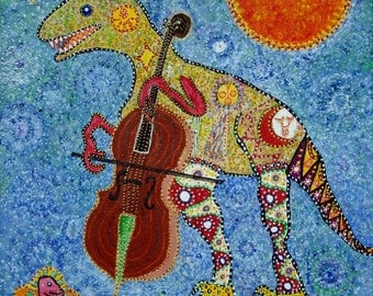 "Dinosaur Dino playing Cello folk intuitive art by Starroot in acrylic on canvas 16""x20"""