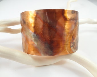 Hammered, torched and sealed Copper Cuff Bracelet