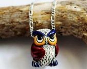 Owl Necklace, Owl Jewelry, Cute Owl Charm, Colorful Owl Pendant, Wise Old Owl Necklace, Bird Necklace, Ceramic Animal Charm by Hendywood