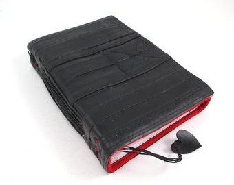 Journal, recycled bicycle inner tube, handmade blank, medium. Velcro closure, red linen and heart.