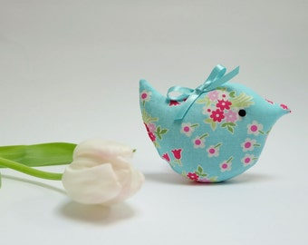 Lavender Sachet Bird, Little Pale Turquoise Floral Fabric Scented Bird, Scented Gift, Pretty Room Decoration