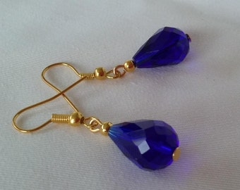Gold and Cobalt Blue Crystal Drop earrings