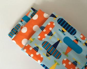 Airplane Dot Baby Burp Cloth Set (3)