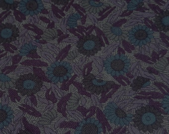 vintage 70s fabric, featuring great purple, blue and gray floral print, 1 yard