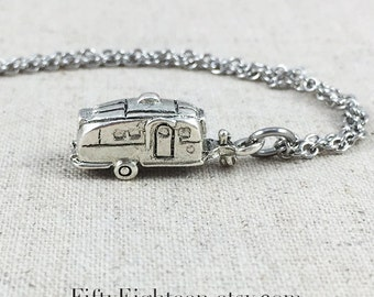 Camping Trailer Charm Necklace, Silver RV Trailer Jewelry, Camping Necklace