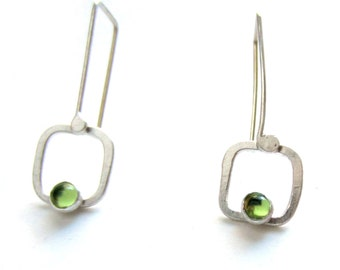 """green peridot silver square """"Picture Window Drop"""" earrings READY TO SHIP"""
