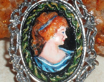 Victorian Lady Cameo Hand Painted Brooch or Pendant