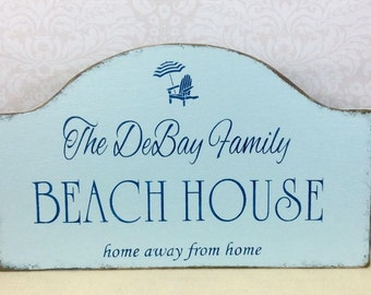 BEACH HOUSE wood sign, personalized family est date, shore house sign, custom cottage sign, lake house, beach cottage sign, cottage chic