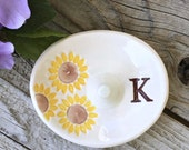 Monogrammed Oval Sunflower Ring Holder - Ring Dish, Ring Bowl, Wedding Ring Holder, Monogrammed Gift, Posted Ring Holder