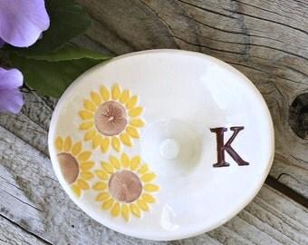Monogrammed Oval Sunflower Ring Holder - Ring Dish, Ring Bowl, Wedding Ring Holder, Monogrammed Gift, Posted Ring Holder