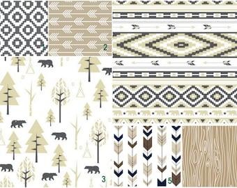 woodland and bears tan brown   Custom Modern Crib Bedding set - create your own set