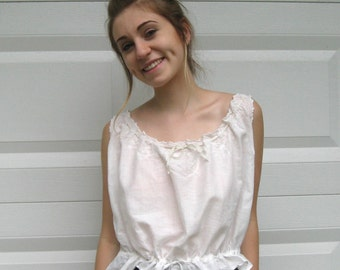 antique Victorian camisole . corset cover . cropped blouse . camisole . embroidered batiste camisole