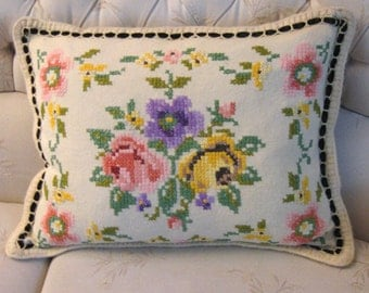 cross stitch pillowcase . floral pillowcase . embroidered roses pillowcase .  cottage chic pillowcase . folk pillowcase . shabby chic pillow