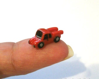 Cherry Red Ford Truck, Artisan Dollhouse Miniature, Unique Toy, Boy Truck, Tiny Red Vehicle, 12th Scale, OOAK Sculpture