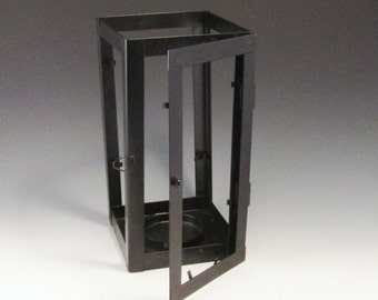 Metal Lantern Box with Door - For a Pillar Candle and Glass ( Tabs hold a piece of stained glass in place)