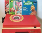 Vintage Dorchester Phonograph Record Player Music Maker Portable with 4 records for Children