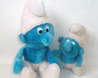 Vintage Smurf and Baby Smurf Peyo Plush Toy Doll