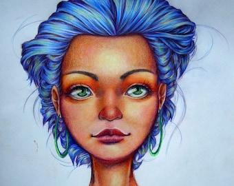 "Original Drawing, ""Colorful Head"""