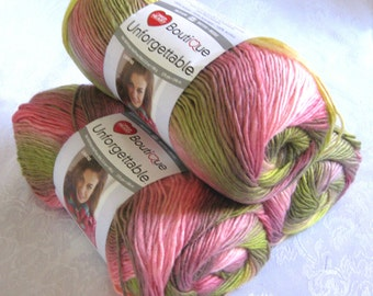 Boutique Unforgettable SUGARCANE,  rose pink, lime green, variegated worsted weight, Red Heart yarn