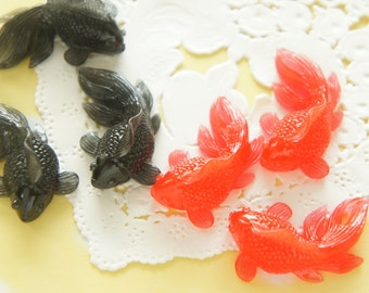 4 pcs Black and Red Goldfish Cabochon (16mm27mm) DR550