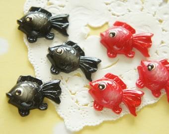 6 pcs Kawaii Gold Fish Cabochon ( 16mm25mm) DR352