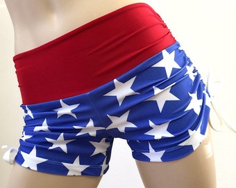 Super Hero Hot Yoga Fitness Shorts American Flag SXYfitness Brand