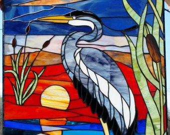 "Stained Glass Panel - ""A Heron on the Sunset"" (P-53)"