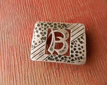 Vintage Sterling Silver B Monogram Belt Buckle