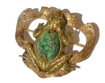 Vintage Bohemian Frog Brooch Art Nouveau Czech Brass & Green Stone Amphibian Pin