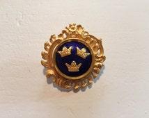 Vintage Scandinavian 1930s Sporrong Three Crown Enameled Brooch Pin Sweden Royalty Gold Plate