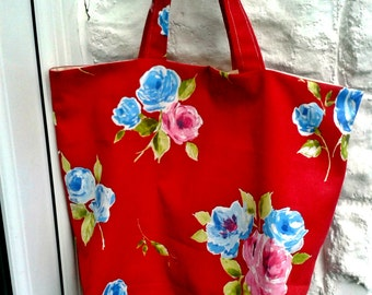 A Shopping Bag made from Red Floral Cotton Canvas, Market Bag,Grocery Bag