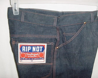Vintage 60s Rip Not Sanforized Jeans 32 x 30 Deadstock Mens Button Fly Red Seam Dark Wash