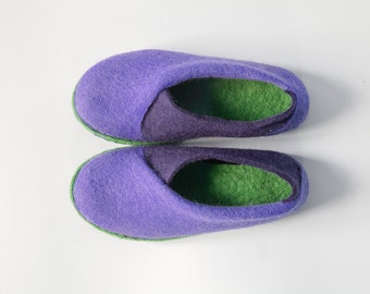 Purple olive envelope slippers Felted wool slippers Elegant slippers Handmade footwear Eco friendly shoes home shoes Cozy spring shoes