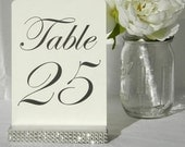 Silver Wedding Table Number Holders with rhinestone wrap- Set of 10