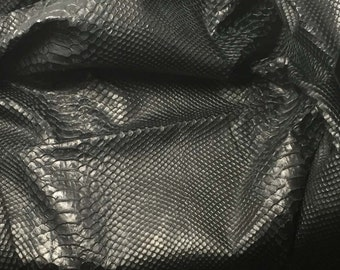 Black Embossed SNAKESKIN Supple Lambskin Leather Hide Piece #4
