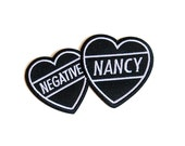 negative nancy hearts | Iron on embroidered patch