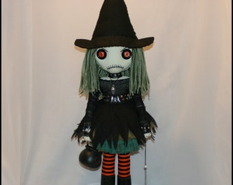 OOAK Hand Stitched Witch Rag Doll Creepy Gothic Folk Art By Jodi Cain Tattered Rags