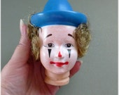 Full Rubber Clown Head with Rooted Hair and Hat, Craft Supplies , Doll Supply