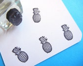 Tiny Pineapple Fruit Rubber Stamp - Handmade  by BlossomStamps