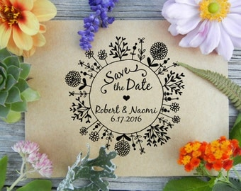 Custom Wedding Floral Wreath Save the Date Rubber Stamp // Handrawn Wreath Seed Packet or Thank you Stamp // Handmade by Blossom Stamps