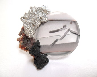 Material-Landscape Jewel slice with Tinscruff and Tourmaline, Brooch.